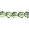 Fire polished 8mm Peridot Aurora Borealis Strung